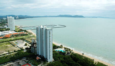 luxuries: Luxuries Hotels and office buildings. Skyscrapers on the seashore. Stock Photo