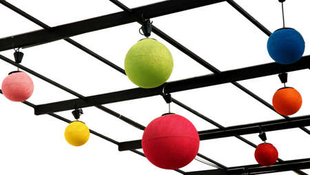 Colorful sphere lamps. Red, Green, Blue, Yellow. Isolated on white. photo