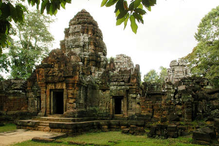 ruins is ancient: Runs of ancient Cambodian temple in the jungle.