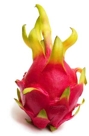 Exotic Thai Fruit. Dragon fruit - Geow Mangon. Isolated on white. Stock Photo