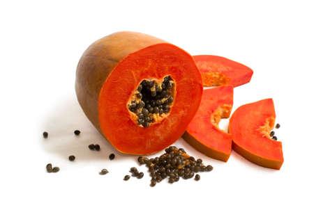 Slice of bright orange sweet mellow papaya isolated on white Stock Photo