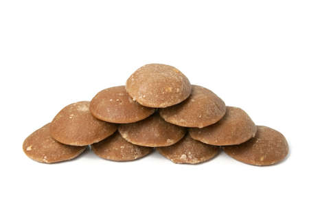 Heap of brown can sugar. Sweet and healthy. Isolated on white