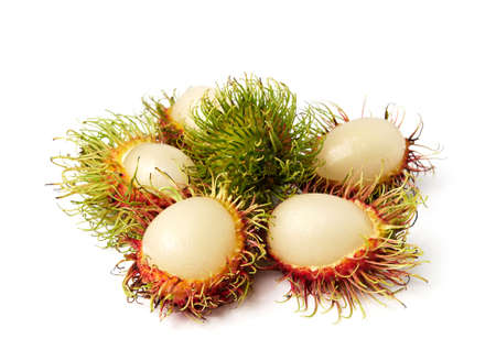 ngo: exotic Thai fruit Rambutan or Ngo isolated on white