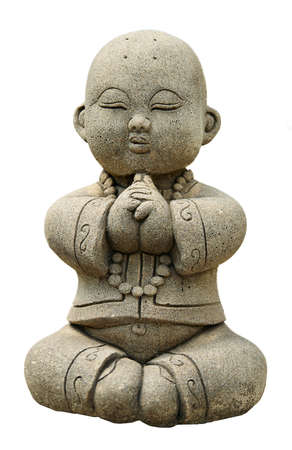 figurines: Funny traditional Thai garden sculpture in meditation. Isolated over white.