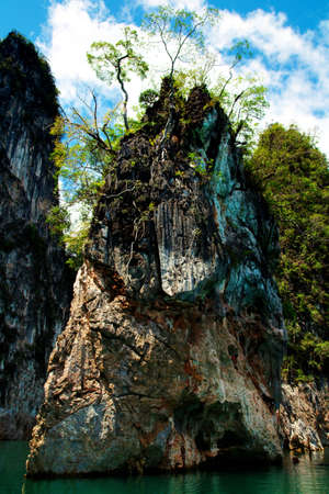 High cliffs on the tropical island. Exotic tropical landscape.