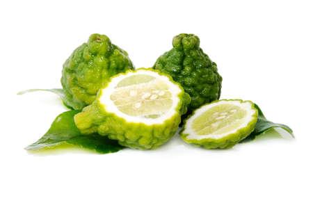 kafir lime: Fresh green lime. Kafir. Isolated over white