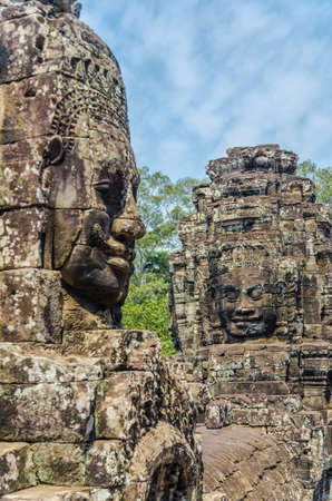 Faces of Bayon tample. Ankor wat. Cambodia. Stock Photo