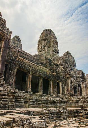 cambodia sculpture: Faces of Bayon temple. Ankor wat. Cambodia.