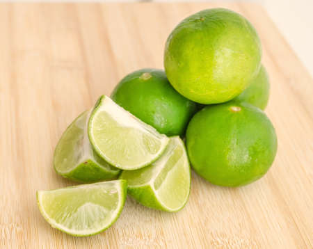 Group of green limes  Sour fresh and healthy Stock Photo