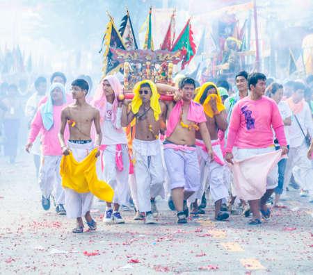 Phuket Vegeterian Festival. Shocking asian tradition - body piercing. Editorial