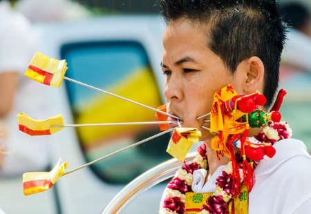 shocking: Phuket Vegetarian Festival  Shocking asian tradition - body piercing  Editorial