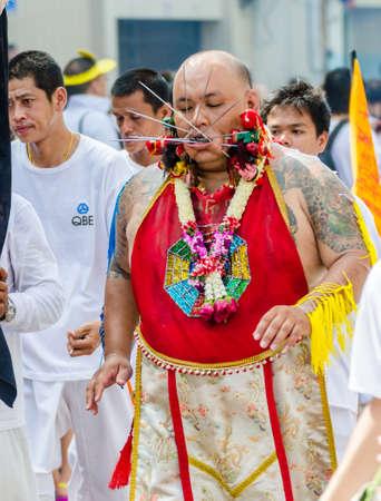 Phuket Vegetarian Festival  Shocking asian tradition - body piercing  Editorial