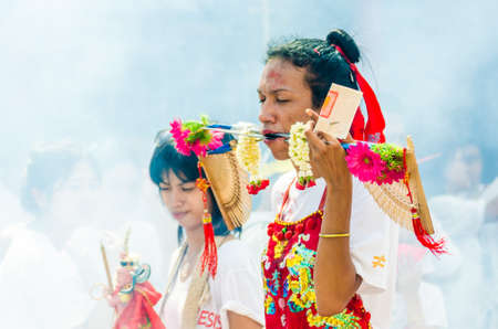 Phuket Vegetarian Festival Shocking asian tradition - body piercing