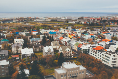 tilt views: Aerial view of city Reykjavik, Iceland with tilt shift effect. Toy Town