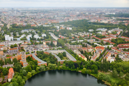 tilt: Aerial view of city Berlin, Germany with tilt shift effect. Toy Town