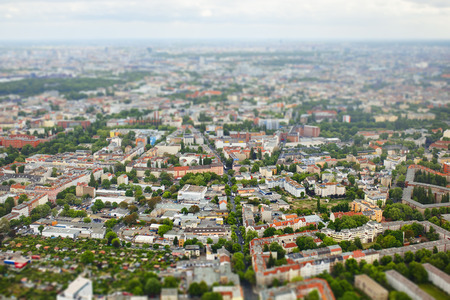tilt view: Aerial view of city Berlin, Germany with tilt shift effect. Toy Town
