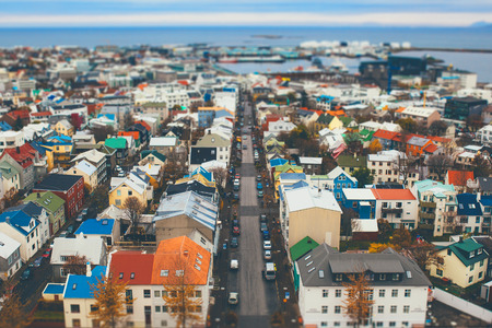 tilt view: Aerial view of city Reykjavik, Iceland with tilt shift effect. Toy Town