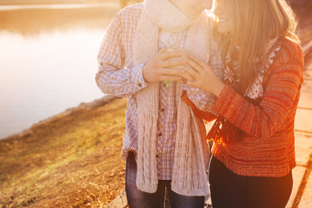 relationship love: Happy teenage couple having great time together in a sunny day with sunshine Stock Photo