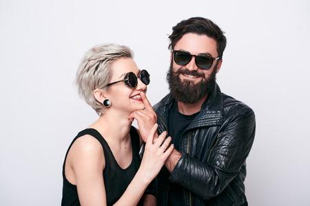 Hipster love concept in studio Stock Photo