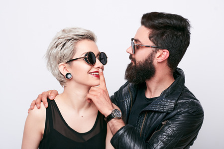 Closeup portrait of young couple in love