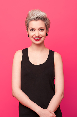 Smiling woman with bright makeup Stock Photo