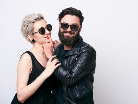 Hipster love concept in studio Banco de Imagens