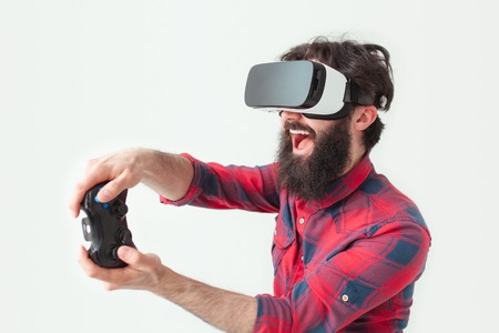visualizing: Man with gamepad and vr headset