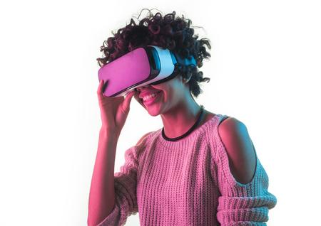 Woman touching VR headset Reklamní fotografie