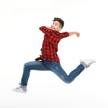 Cheerful jumping boy