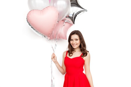 Pretty girl with balloons bunch