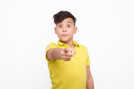 Little boy pointing at camera Stock Photo