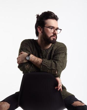 holed: Stylish adult man in glasses Stock Photo