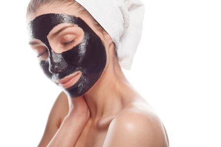 pampering: Woman pampering face skin