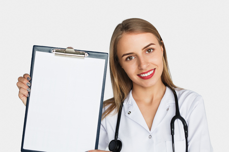 Doctor showing file