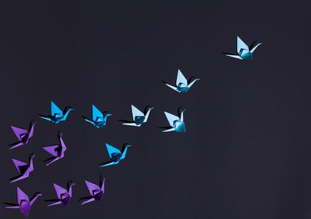 Blue origami birds