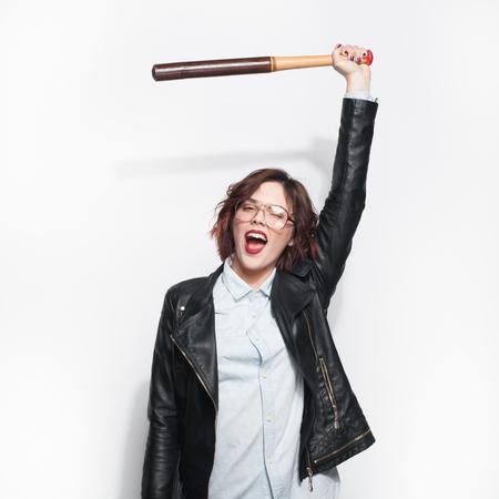 Trendy cheerful female rebellion Stock Photo