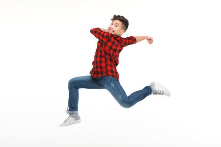 hustle: Laughing boy jumping in hustle