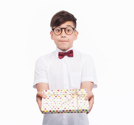 Kid offering present