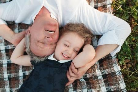 grandkids: Loving grandfather and granddaughter Stock Photo