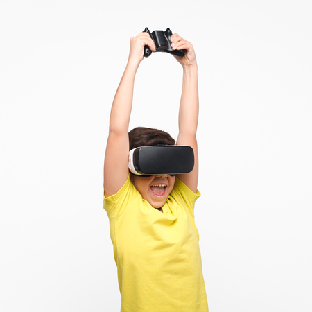 Excite kid in VR glasses