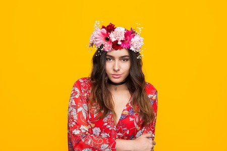Stylish girl in floral wreath Banco de Imagens