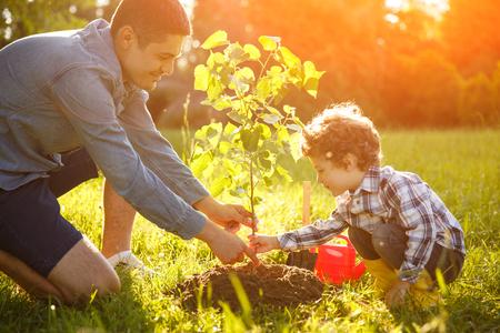 少年と男の苗を植える