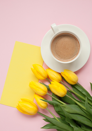 Postcard with flowers and coffee Stock Photo