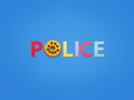 Word made with doughnut saying Police