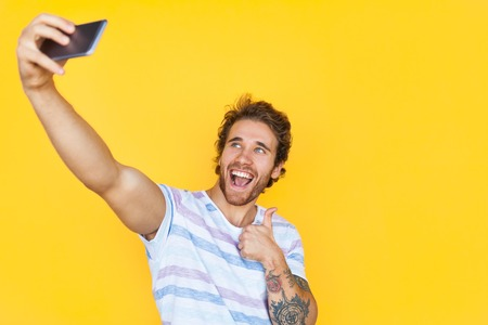 Man taking selfie Stock Photo