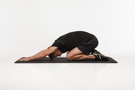 Man stretching his back