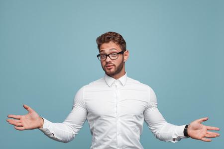 Man making helpless gesture