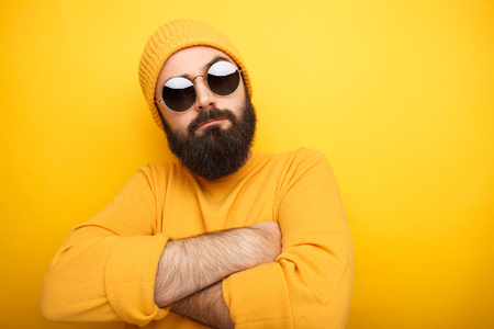 Cool bearded man in sunglasses Stock Photo