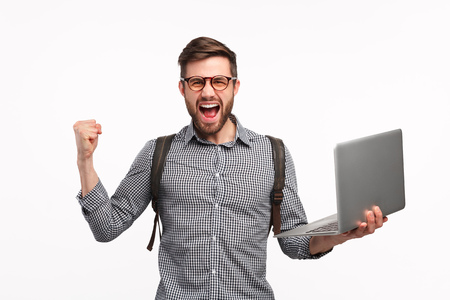 Excited man excited with university admission