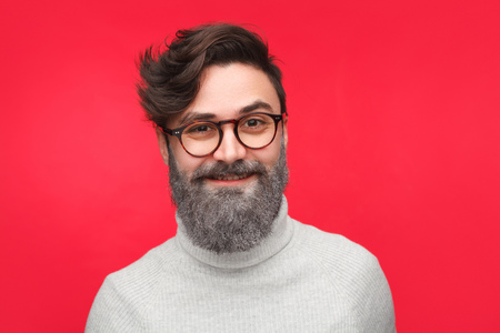 Excited man with colored beard Banco de Imagens